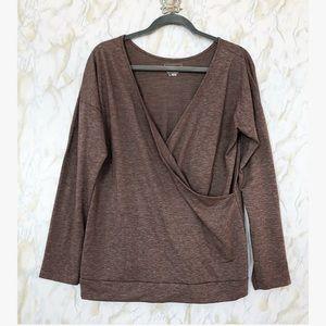 L.L. Bean Large Brown Long Sleeve Pullover V-neck